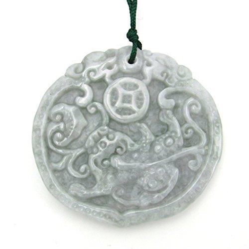 - Jadeite Jade Fortune Dragon Pixiu Amulet Pendant