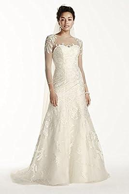 Oleg Cassini Lace Wedding Dress with 3/4 Sleeves Style CWG704