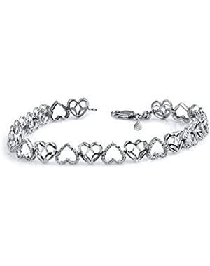 Sterling Silver Jessica Simpson Diamond Accent Heart Link Bracelet