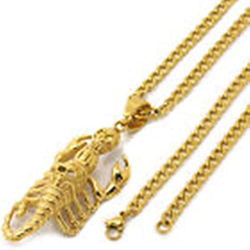 [Bodybasic - Stainless Steel Gold Plated Scorpion Skull Pendant 4mm 24