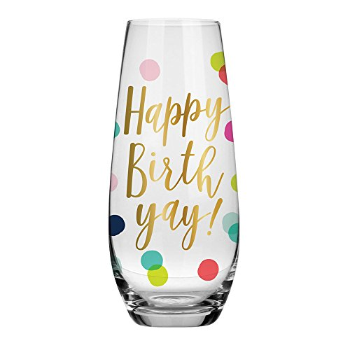 Birthday Champagne Glass - 10 oz Happy Birthday Stemless Champagne Stemless Glass (BOLD Multicolor Confetti, Perfect Birthday Gift)