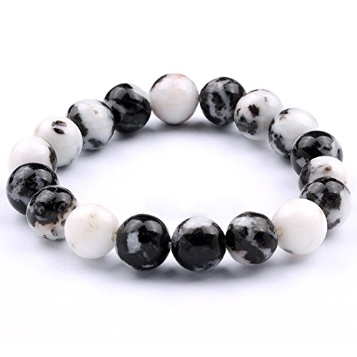 "jennysun2010 Handmade Natural Black and White Zebra Jasper Gemstone Smooth Round Loose Beads 12mm Stretchy Bracelet Healing  8.5"" Inches Wrist ( 18pc…"