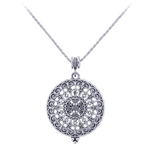 (Ornate Long Necklace with Reading Magnifying Glass Pendant (Byzantine)