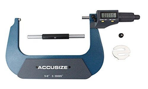 accusizeツール – 電子、デジタル外側マイクロメータ、0 – 1 in / 0 – 25 mm , 1 – 2 in / 25 – 50 mm、2 – 3 / 50 – 75 mm / 75 – 100 mm、4 – 5 / 100 – 125 mm、5で、3 – 4 – 6でで/ 125 – 150 mm B01EVEQOMI 5-6