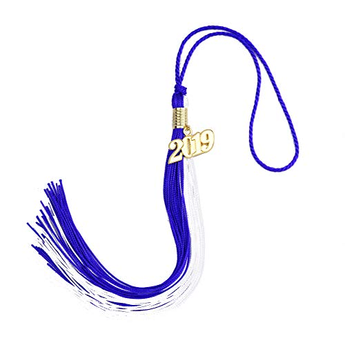 Aokbean 4pcs 15.7 inches Handmade Silk Academic Graduation Honor Tassel with 2019 Year Charm for Graduation Cap,Graduation Gift, Souvenir (Navy Blue&White) ()