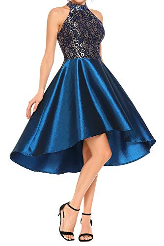Novia#039s Choice Women Retro Halter Floral Lace Cocktail Evening Party Dress Ball Gown Prom DressBlue M