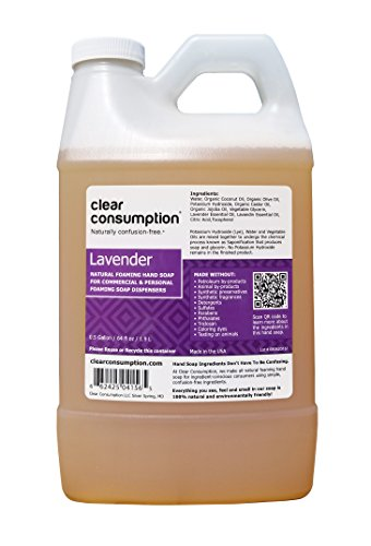 Clear Consumption Natural Lavender Foaming Hand Soap Refill 1/2 Gallon (64 oz) - Made from USDA Organic Vegetable Oils - For Commercial & Personal Foaming Soap Dispensers
