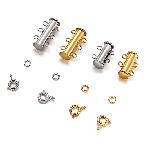 - Pandahall 4 Strand Brass Magnetic Slide Lock with 40pcs Brass Close but Unsoldered Jump Rings and 20pcs Brass Spring Ring Clasps for Bracelet Necklace Jewelry Making (Silver &Golden)