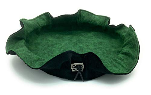 Black and Green Tonal Cloth Rolling Tray Dice Bag ()