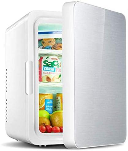 YLLNミニ冷蔵庫、10L冷凍冷蔵庫ドリンクビールポータブル冷凍暖房小さな冷蔵庫車の家族寮オフィスシルバーに最適