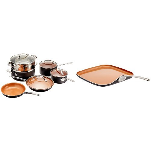 "Gotham Steel 10-Piece Kitchen Nonstick Frying Pan and Cookware Set and GOTHAM STEEL Ceramic Non-Stick Griddle 10.5"" Bundle"