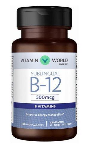 Vitamin World Vitamin B-12 500 Mcg. Sublingual Supports Energy Metabolism 100 microlozenges