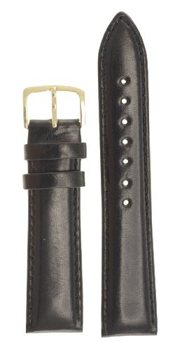 Men's Genuine Italian Leather Watchband Black 16mm Watch Band