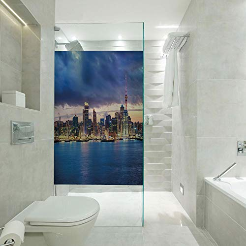 RWNFA Glass Decorative Window Film Glass Sticker,Auckland The Biggest City in New Zealand Waterfront Travel Destination,Customizable Size,Suitable for Bathroom,Door,Glass etc,Navy Blue Pale Yellow