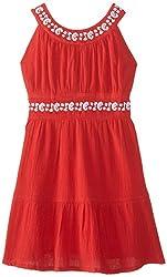 kc parker Big Girls' Crinkle Gauze Dress, Red Rock, 14