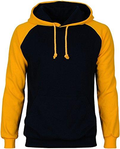 Angel Cola Men's Cotton Raglan Hoodie String Pullover Sweatshirt Blue / Yellow XL