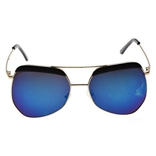 Retro Vintage Aviator Brow Line Sunglasses - Black w/Mirror lenses - Jlo Womens Metal