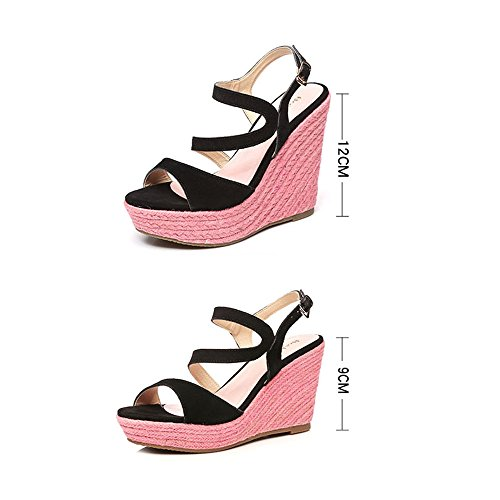 Sandals ZHIRONG Women's Slope Waterproof Platform Open Toe Colorblock Woven Summer High Heels Bohemian Beach Shoes 9CM 12CM (Color : 9cm, Size : EU37/UK4.5-5/CN37) 12cm