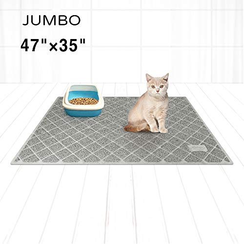 Niubya Premium Cat Litter Mat, XL Jumbo Size 47×35 Inches, Non-Slip and Water Proof Backing, Traps Litter from Box and Cat, Soft on Kitty Paws, Gray
