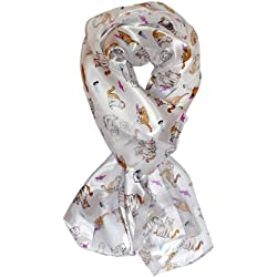 Ted and Jack - Playful Felines Silk Feel Cat Scarf in White