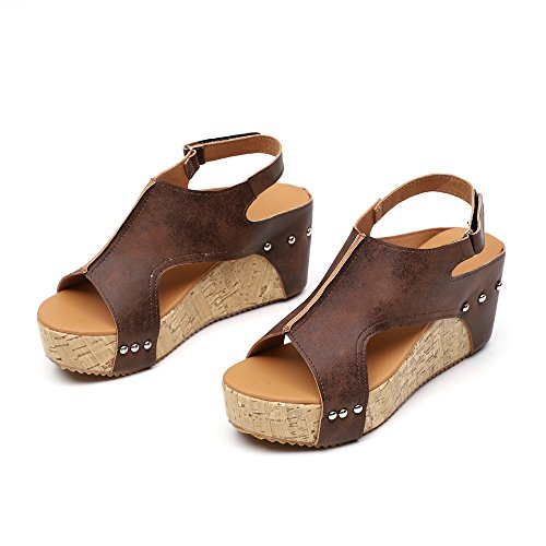- Farjing Shoes for Women Summer Round Toe Breathable Rivet Beach Sandals Boho Casual Wedges Shoes(US:5,Brown