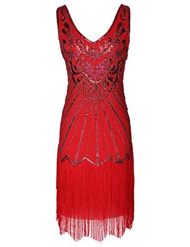 Women's Flapper Dress 1920s V Neck Beaded Fringed Great Gatsby Dress (Red, S)