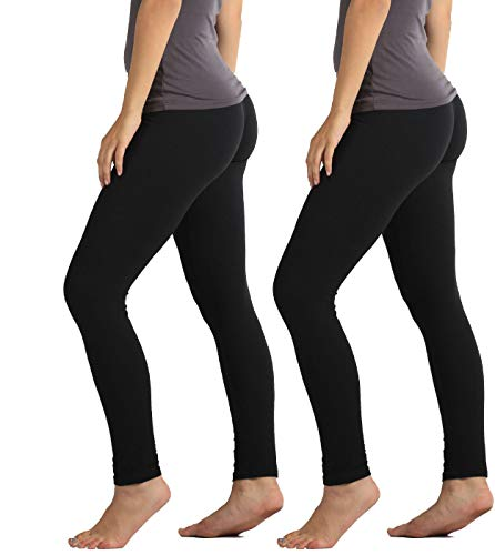 Conceited Ultra Soft High Waisted Leggings for Women - Opaque Full Ankle Length - 2-Pack Black-Black - Plus Size (12-22) (Best Fitting Black Leggings)
