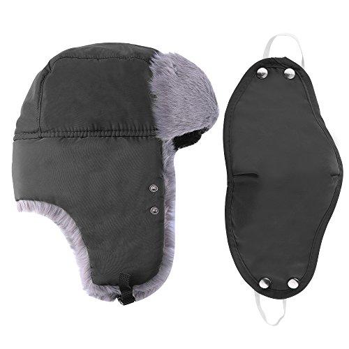 Prooral-Unisex-Winter-Trooper-Trapper-Hat-Hunting-Hat-Ushanka-Ear-Flap-Chin-Strap-and-Windproof-Mask-Nylon-Russian-Style-Winter-Ear-Flap-Hat-for-Men-Women-BlackBlue-
