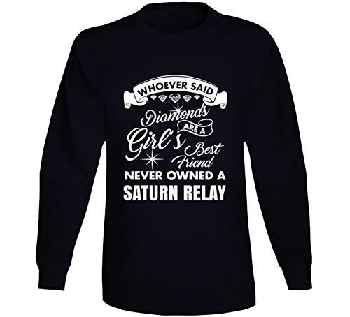 Saturn Relay Diamonds Girls Best Friend Enthusiast Car Lover Long Sleeve T Shirt 2XL Black ()