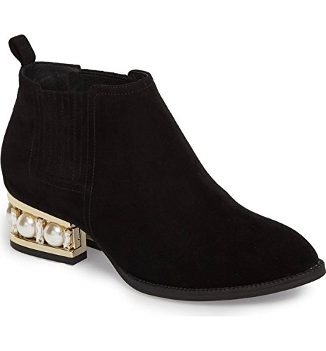 Jeffrey Campbell Metcalf Sh Black Suede Gold Pearl Embedded Heel Ankle Bootie (Jeffrey Campbell Rubber Boots)