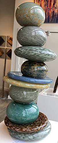 Gray Stone Pohacu - Original Glass Sculpture Stacked Stone Glasswork Modern Nature Decor Blown Glass Sculptures by Renowned Artist Andrew & Robert Madvin by The Fringe Gallery