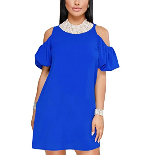 Casual Shift Pencil Domple Mini Solid Womens Shoulder Dress Cold Blue Party FqUxUPwg