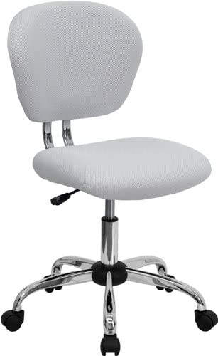 Flash Furniture Mid-Back White Mesh Padded Swivel Task Office Chair with Chrome Base