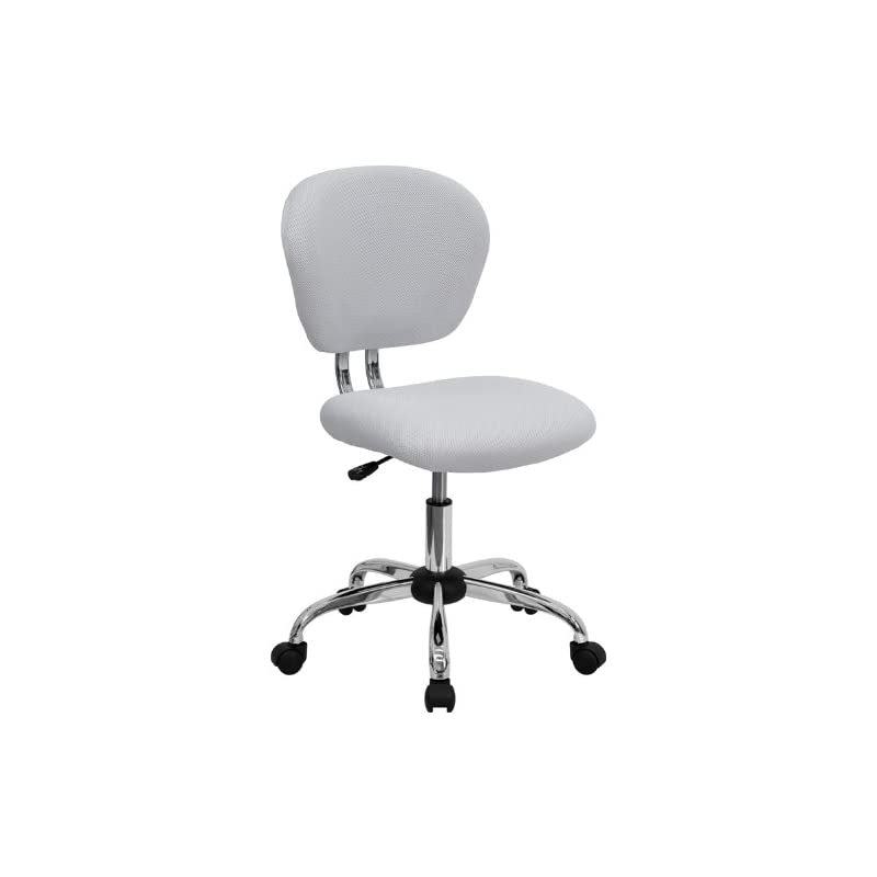 Flash Furniture Mid-Back White Mesh Swiv