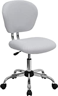 Great Flash Furniture Mid Back White Mesh Swivel Task Chair With Chrome Base