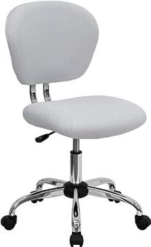 Flash Furniture Mid-Back White Mesh Swivel Task Chair with Chrome Base