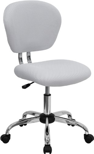 Flash Furniture Mid-Back White Mesh Swivel Task Chair with Chrome Base