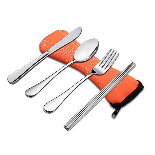 Wayber 4 Pcs Portable Stainless Steel Camping Flatware Set (Knife Fork Spoon Chopsticks) with Lightweight Soft Neoprene Case, Eco-Friendly Ideal for Traveling/Party/Business Trip/Office, Orange