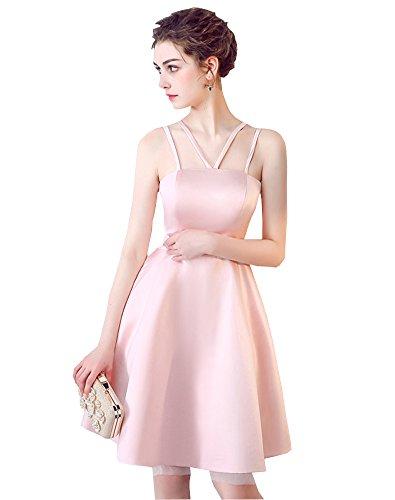 Kleid Brautjungfer Trägerlos Abendkleid Harness Ballkleid Kurz Erosebridal Rosa wxgXqA6p