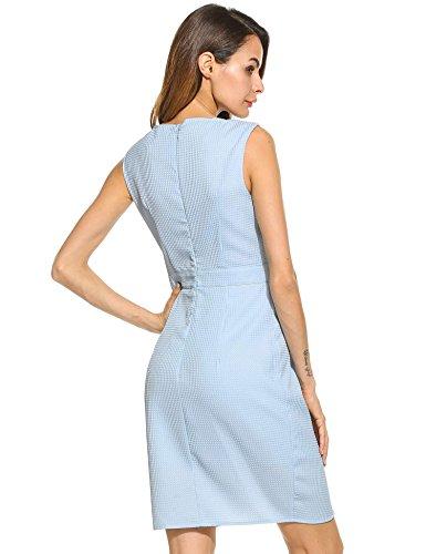 Meaneor Vestido Mujeres Sin Mangas Fiesta Solido Ajustado Casual Plisado Corto V-cuello Elegante Azul cielo
