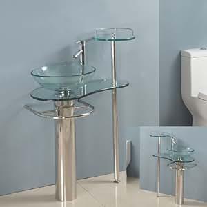 28 Inch Bathroom Vanities Pedestal Glass Sink Euro Design ...