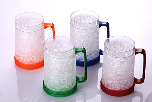 BC Inter Double Wall Gel Frosty Freezer Ice Mugs Clear 16oz Set of 4 (Blue, Red, Orange and (16 Ounce Frosty Mug)