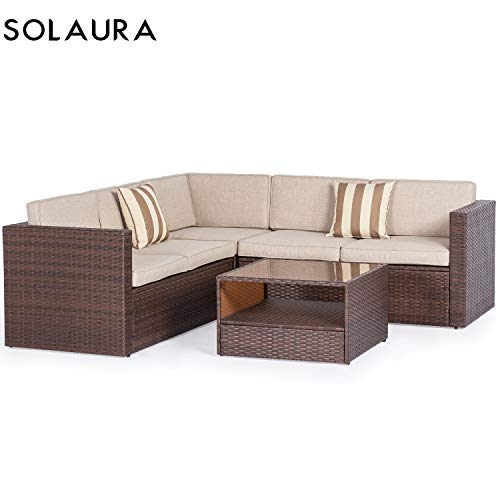 SOLAURA Outdoor 4-Piece 5 Seats Sofa Sectional Set All Weather Brown Wicker with Beige Waterproof Cushions Sophisticated Glass Coffee Table Patio, Backyard, Pool