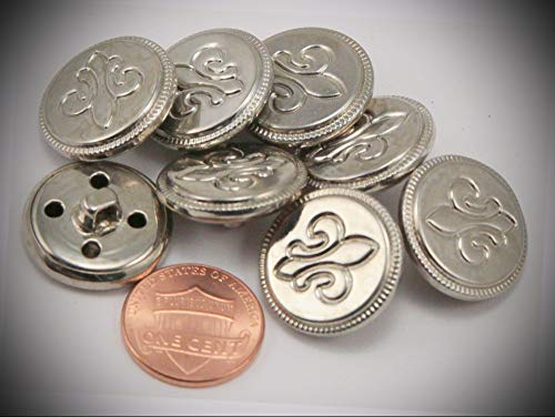 (JumpingLight 8 Puffed Silver Tone Metal Fleur De Lis Buttons 13/16'' 20MM 6277 Perfect for Crafts, Scrap-Booking, Jewelry, Projects, Quilts)