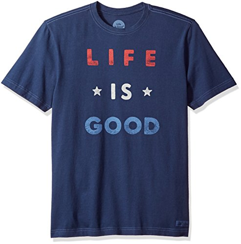 Life is good Crusher Tee Red White Good, Darkest Blue, Medium