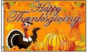 LuxMart 3x5 Smiling Turkey with Pumpkins Happy Thanksgiving Flag Holiday Banner New -