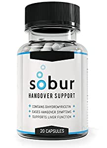 Sobur Hangover Pills - #1 Rated Hangover Cure Featuring 300mg DHM / Dihydromyricetin / Hovenia Dulcis / Ampelopsin & Liver Protecting Vitamins For Lasting Hangover Relief and Recovery.