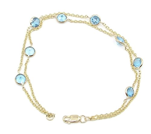Blue Topaz Double Strand 7″ Bracelet,14K Yellow Gold