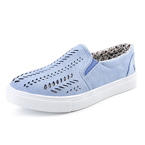 fereshte Women's Casual Sneakers Breathable Hollowout Canvas Loafer Flats Shoes Blue US 8.5 by fereshte