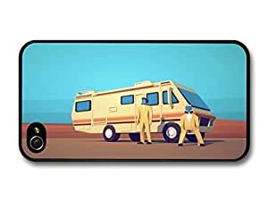 AMAF ? Accessories Breaking Bad Heisenberg Minimalist Illustration Walter White and Jesse Pinkman with Cooking Van case for iPhone 4 4S